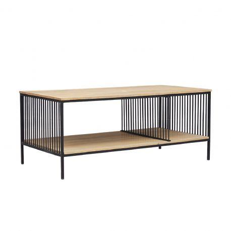 """Table basse rectangulaire industrielle double plateau """"Manguier Lineo"""""""