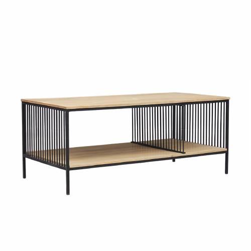 Table basse rectangulaire industrielle double plateau