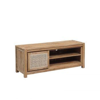 """Petit meuble Tv bois nature porte cannage """"Acacia Tatoo II"""""""
