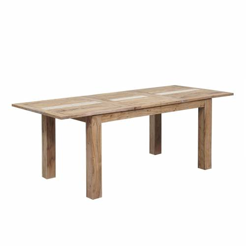 """Table à manger nature 155 rallonge 60 """"Acacia Tatoo II"""""""