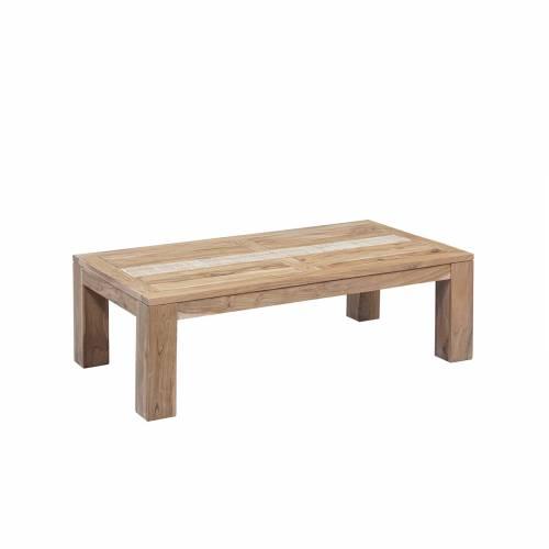 "Table basse rectangulaire extensible plateau cannage""Acacia Tatoo II"""