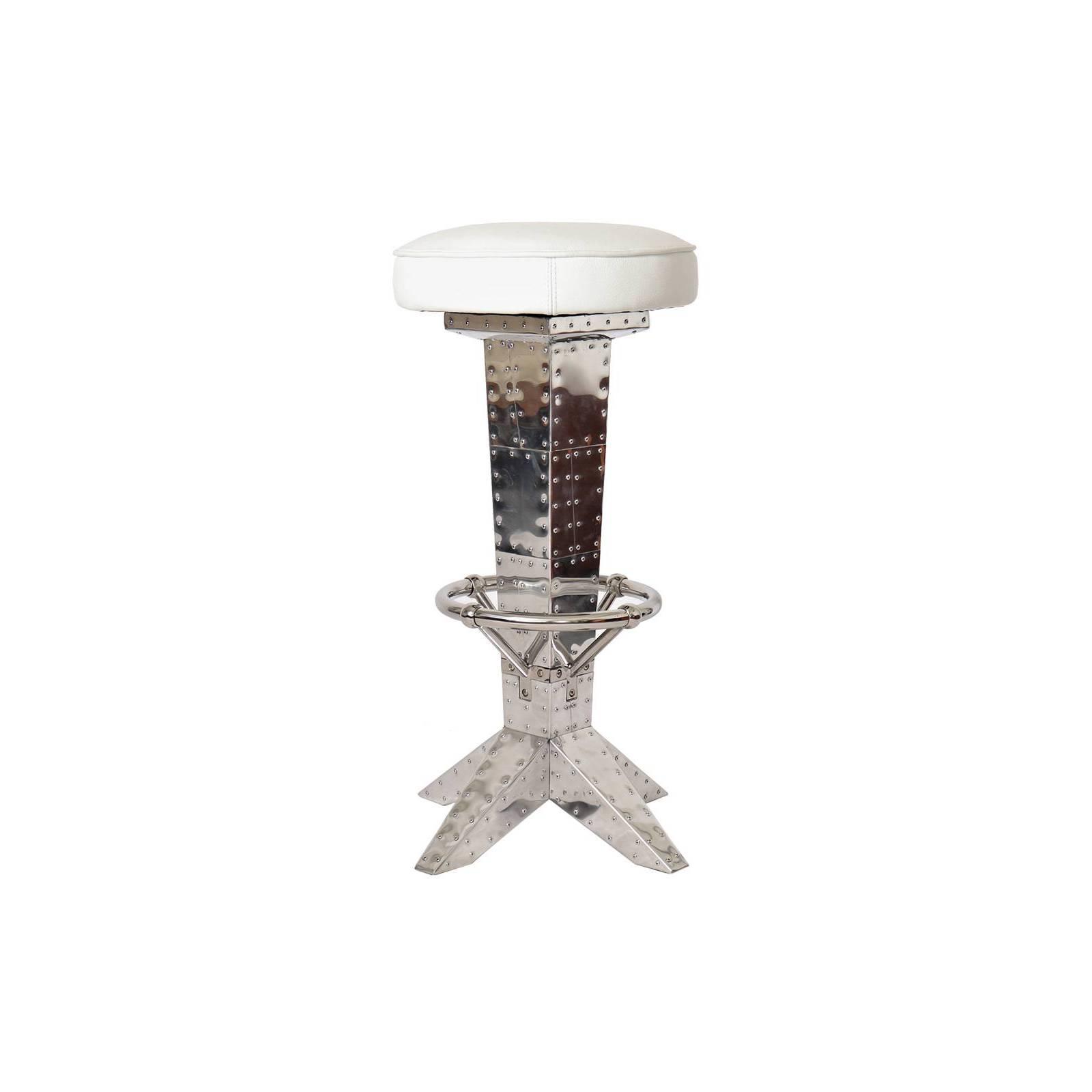 Tabouret de bar DC3, cuir blanc Chaises et tabourets de bar - 1
