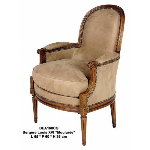 Bergère LOUIS XVI, dossier médaillon mouluré Mobilier Club Vintage - 9