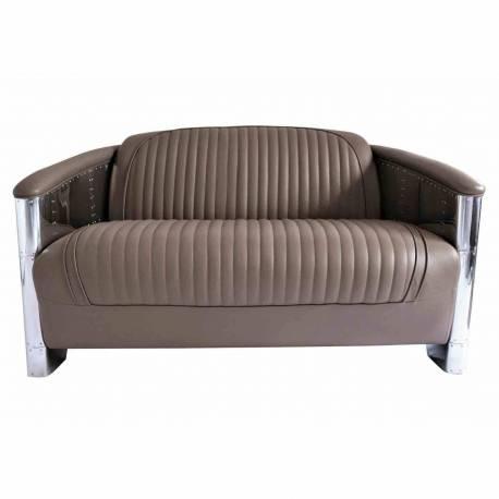 Canapé DC3, cuir gris taupe