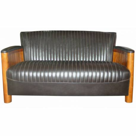 Canapé COGNAC, cuir marron foncé