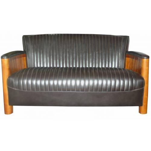 Canapé COGNAC, cuir marron foncé Mobilier Club Vintage - 2