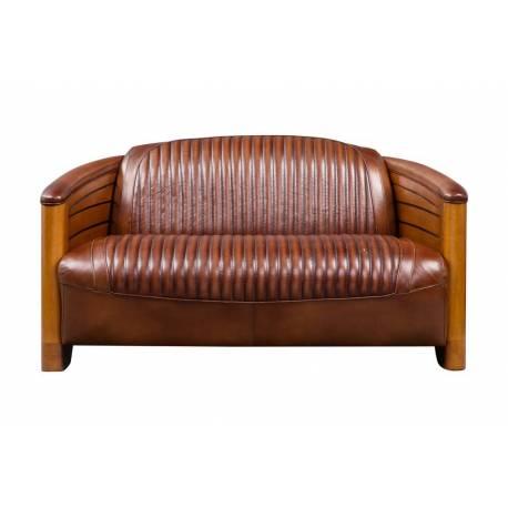 Canapé PIROGUE, cuir vintage