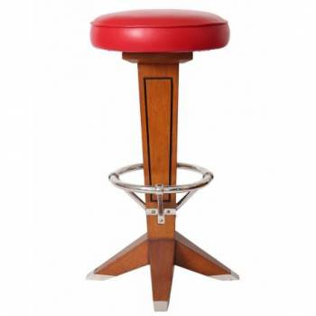 Tabouret de bar CANOE, cuir rouge Mobilier Club Vintage - 2