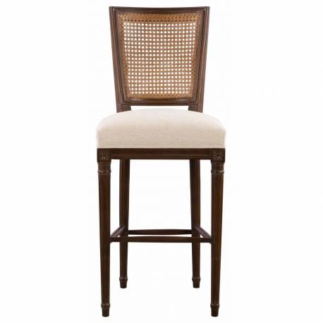 Chaise de bar PLUVINET, chêne foncé/lin beige