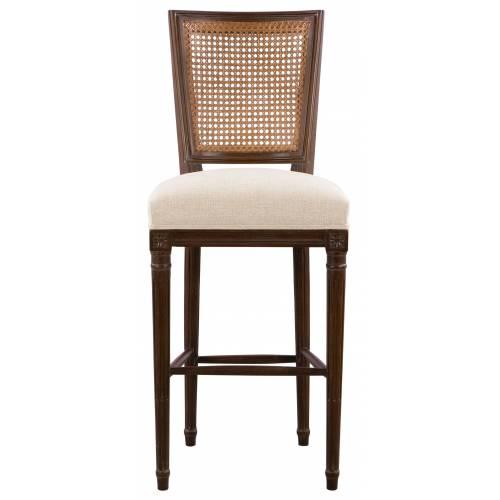 Chaise de bar PLUVINET, chêne foncé/lin beige Mobilier Club Vintage - 14