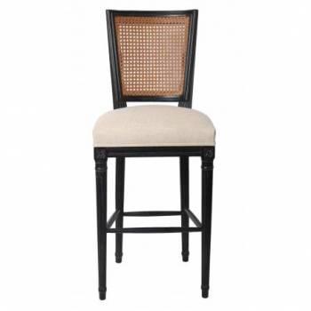 Chaise de bar PLUVINET, chêne noir/lin beige Mobilier Club Vintage - 15