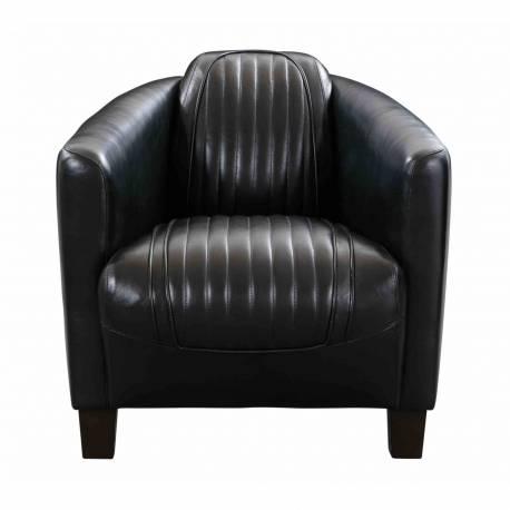 Fauteuil Club BARQUETTE SPORT, cuir noir