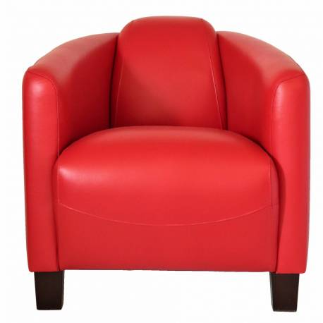 Fauteuil Club BARQUETTE, cuir rouge