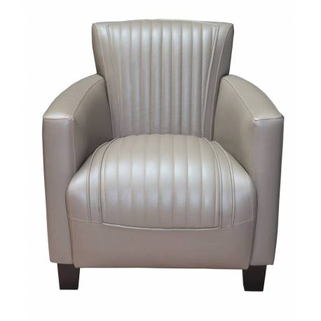 Fauteuil Club NOGENT SPORT, cuir gris taupe