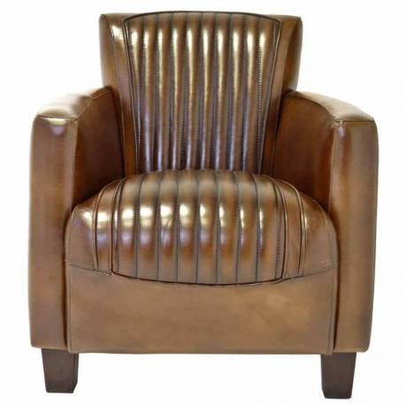Fauteuil Club NOGENT SPORT, cuir vintage
