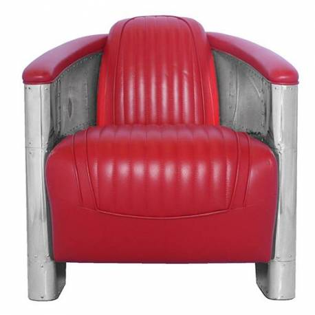 Fauteuil Club DC3, cuir rouge