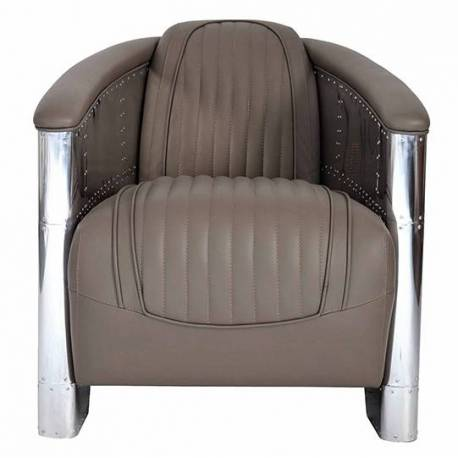 Fauteuil Club DC3, cuir gris taupe
