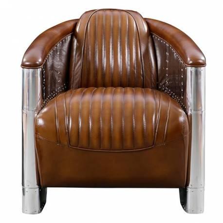 Fauteuil Club DC3, cuir vintage