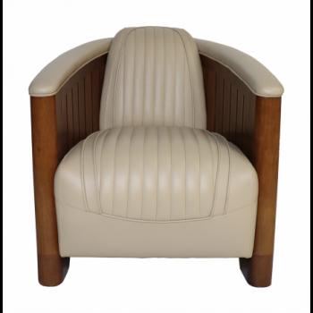 Fauteuil Club CANOE, cuir beige Mobilier Club Vintage - 11