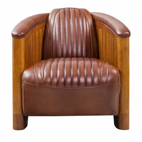 Fauteuil Club CANOE, cuir vintage