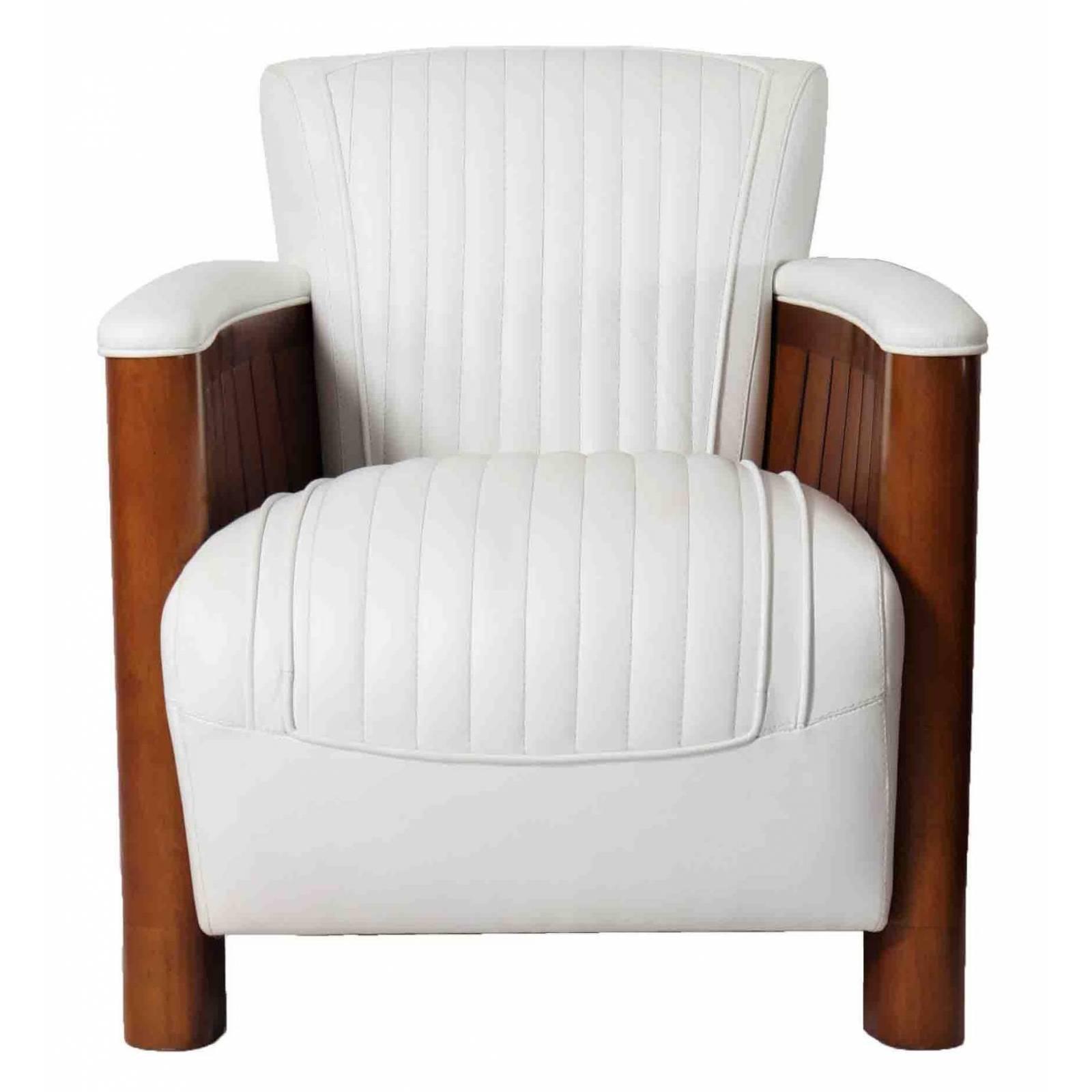Fauteuil club COGNAC, cuir blanc Mobilier Club Vintage - 23