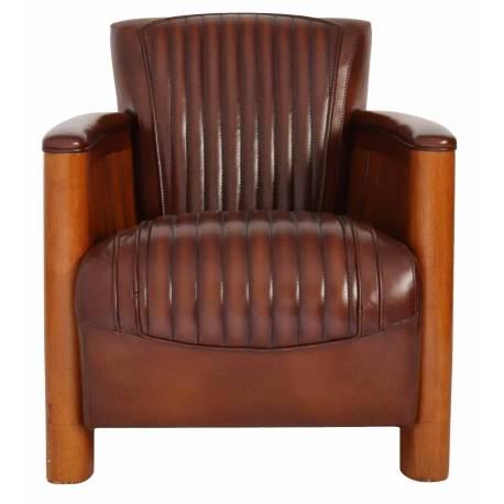 Fauteuil club COGNAC, cuir vintage