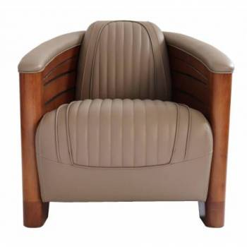 Fauteuil club PIROGUE, cuir gris taupe Mobilier Club Vintage - 7