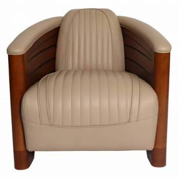 Fauteuil club PIROGUE, cuir beige Mobilier Club Vintage - 1