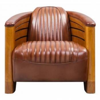 Fauteuil club PIROGUE, cuir vintage Mobilier Club Vintage - 3