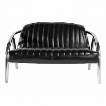 Canapé QUAD, cuir noir Mobilier Club Vintage - 3