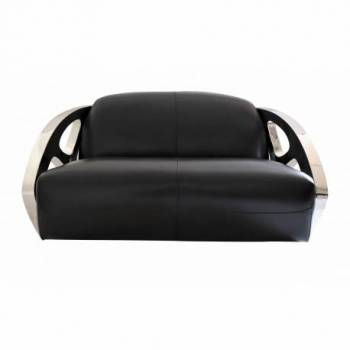 Canapé SQUALE, cuir noir Mobilier Club Vintage - 1