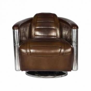 Fauteuil Club DC3 tournant, cuir vintage Fauteuils - 10