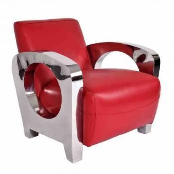 Fauteuil SYDNEY, cuir rouge Mobilier Club Vintage - 2