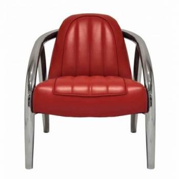 Fauteuil QUAD, cuir rouge Mobilier Club Vintage - 8