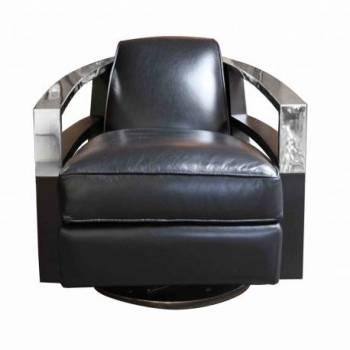Fauteuil pivotant MADISON, noir/chêne noir Mobilier Club Vintage - 31