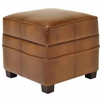 Pouf NOGENT carré, cuir vintage Mobilier Club Vintage - 1