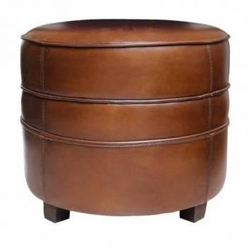 Pouf BARQUETTE rond, cuir vintage Club Bar Vintage - 3