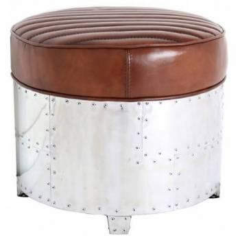 Pouf DC3 rond, cuir vintage Poufs - 1