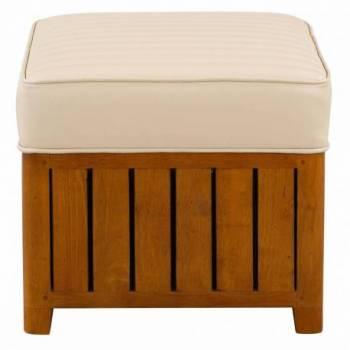 Pouf CANOE carré, cuir beige Mobilier Club Vintage - 16