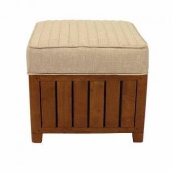Pouf CANOE carré, tissu beige Mobilier Club Vintage - 18
