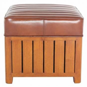 Pouf CANOE CARRÉ, cuir vintage Mobilier Club Vintage - 9