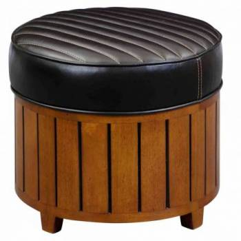 Pouf CANOE rond, cuir marron foncé Mobilier Club Vintage - 15