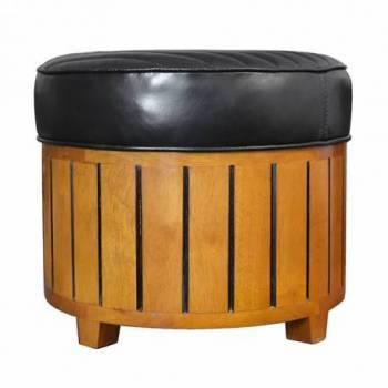 Pouf CANOE ROND, cuir noir Mobilier Club Vintage - 17