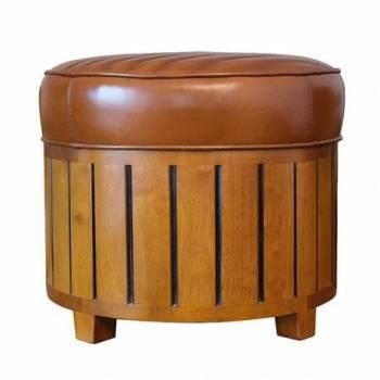 Pouf CANOE rond, cuir vintage Mobilier Club Vintage - 8