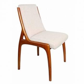 Chaise BERFEN, tissu beige/vernis noyer Mobilier Club Vintage - 6